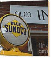 Blue Sunoco Globe Wood Print
