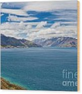 Blue Surface Of Lake Hawea In Central Otago Of New Zealand Wood Print