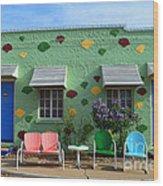 Blue Swallow Motel In Tucumcari In New Mexico Wood Print