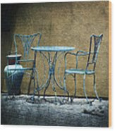 Blue Table And Chairs Wood Print