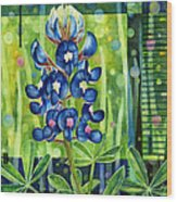Blue Tapestry Wood Print