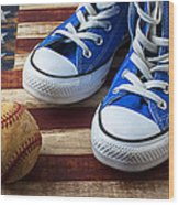 Blue Tennis Shoes And Baseball Wood Print