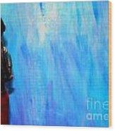 Blue Thinker Wood Print