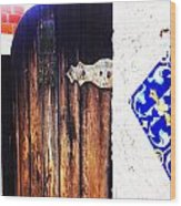 Blue Tile Brown Door 1 Wood Print