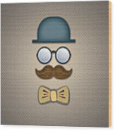 Blue Top Hat Moustache Glasses And Bow Tie Wood Print
