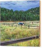 Blue Tractor Deckers Colorado Wood Print