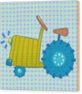 Blue Tractor Wood Print