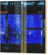 Blue Tram Windows Wood Print