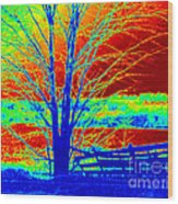 Blue Tree On Red And Green Background Wood Print
