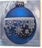 Blue Tree Ornament Wood Print