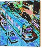 Blue Trolley Portland Wood Print