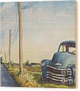 Blue Truck North Fork Wood Print