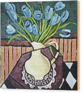 Blue Tulips On Octagon Table Wood Print