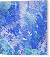 Blue Twirl Abstract Wood Print