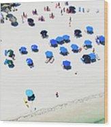 Blue Umbrellas On A Sunny Beach Wood Print