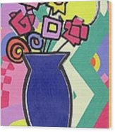 Blue Vase Wood Print by Bodel Rikys