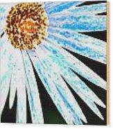 Blue Vexel Flower Wood Print