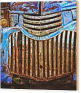 Blue Vintage Car Wood Print