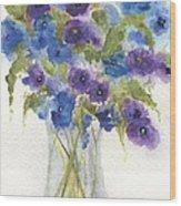 Blue Violet Flower Vase Wood Print