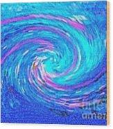 Blue Vortex Abstract 2 Intense Wood Print