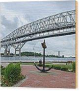 Blue Water Bridge Anchor Wood Print