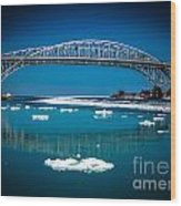 Blue Water Bridge Reflection Wood Print