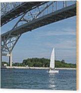 Blue Water Bridge Sail Wood Print
