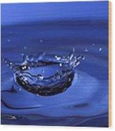 Blue Water Splash Wood Print