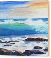 Blue Water Wave Crashing On Rocks Wood Print