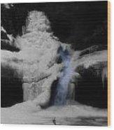 Blue Waterfall Frozen Landscape Wood Print by Dan Sproul