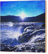 Blue Waterfall Wood Print