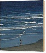 Blue Wave Walking Wood Print