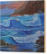 Blue Waves Hawaii Wood Print