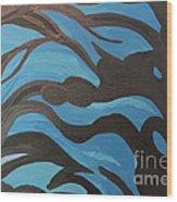 Blue Waves Of Healing Wood Print