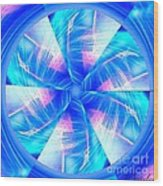 Blue Wheel Inflamed Abstract Wood Print