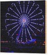 Blue Wheel Of Fortune Wood Print