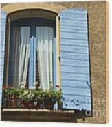 Blue Window And Shutters Wood Print