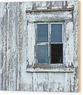 Blue Window In Weathered Wall Wood Print