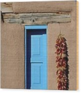 Blue Window Of Taos Wood Print by Heidi Hermes