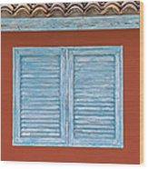 Blue Window Shutter Of Aruba Wood Print