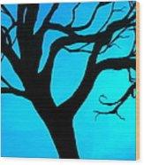Blue Winter Wood Print by Debi Starr