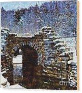 Blue Winter Stone Bridge Wood Print