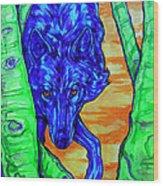 Blue Wolf Wood Print