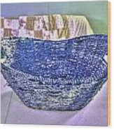 Blue Woven Basket Wood Print