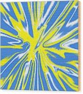 Blue Yellow White Swirl Wood Print