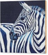 Blue Zebra Wood Print