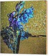 Bluebells In Water Splash Wood Print