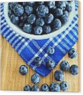 Blueberries And Blue Napkin Wood Print