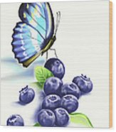 Blueberries And Butterfly Wood Print