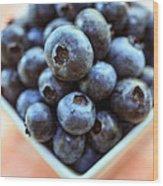 Blueberries Closeup Wood Print